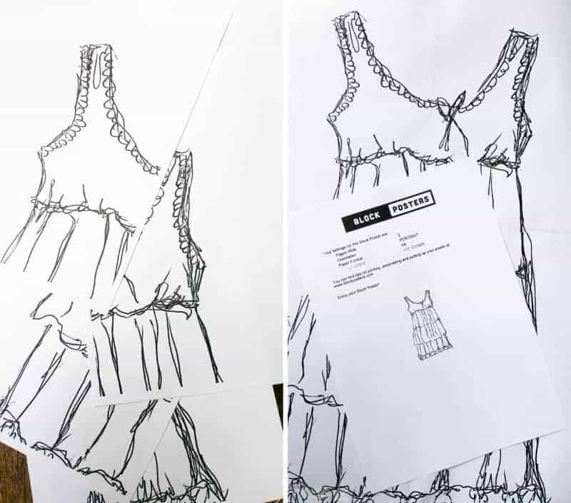 Using blockposter to create large prints to use as a template for making a wire dress. #BlockPoster #WireArt #DIYTutorial