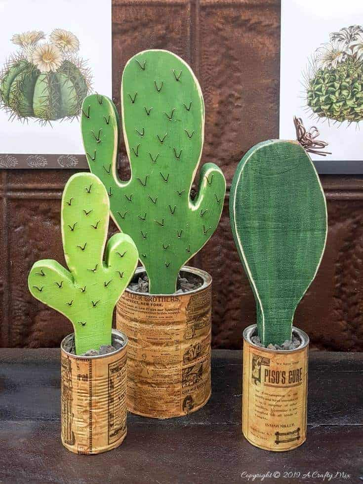 How to make your own wooden cacti. Perfect home decor for anyone who struggles to keep plants alive or if you want to add a little greenery to your space. #BrownThumb #WoodenCacti #DIYTutorial #ACraftyMix