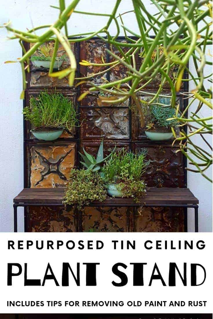 Transform A Boring Plant Stand With Tin Ceiling Tiles A Crafty Mix