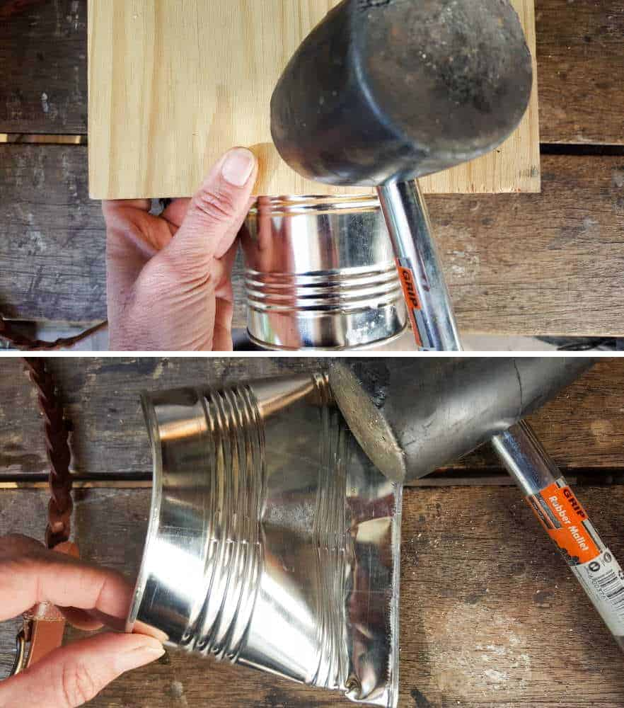 Use a rubber mallet to compress the bottom of the tin can #tincan #recycle #repurpose #tincanrecycle #tincanplanter #acraftymix #creativetincanprojects #uniquetincanDIY