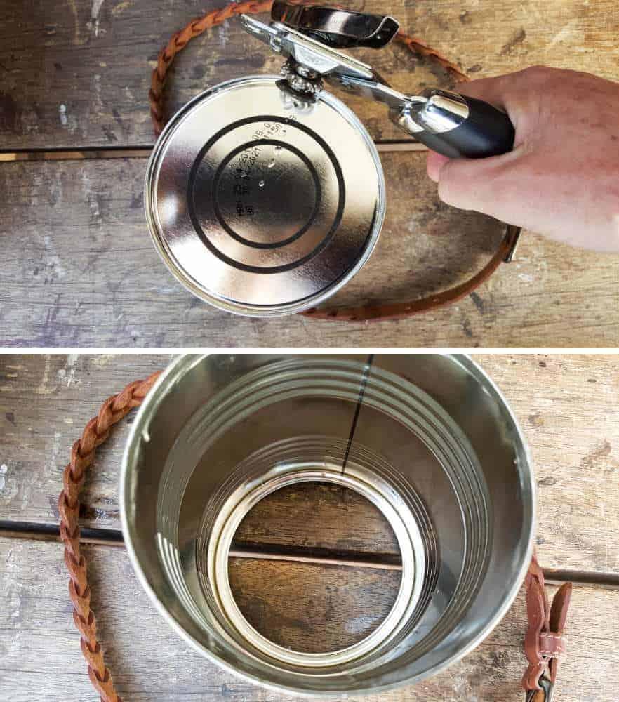 Remove the bottom of the tin can #tincan #recycle #repurpose #tincanrecycle #tincanplanter #acraftymix #creativetincanprojects #uniquetincanDIY