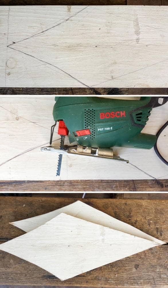 USe a jigsaw to cut the front, back and sides #rusticbirdhouse #DIYbirdhouse #paintedbirdhouse #acraftymix #birdhouseideas #uniquebirdhouse