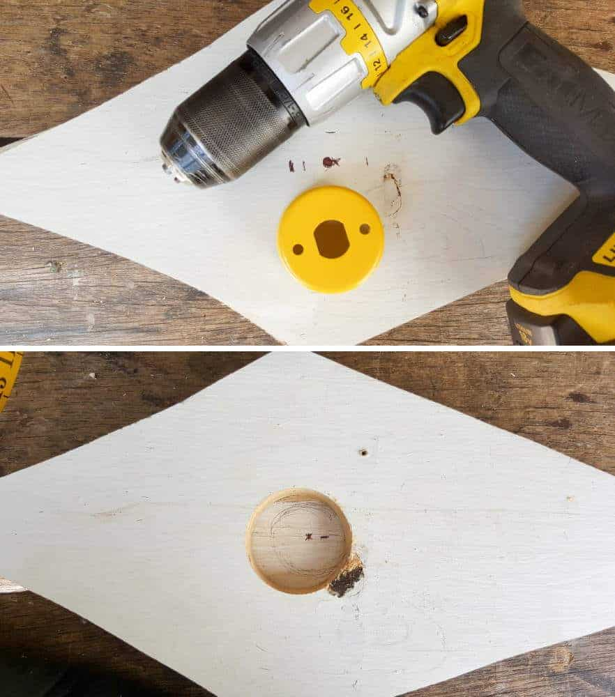 Cutting a small hole in the birdhouse #rusticbirdhouse #DIYbirdhouse #paintedbirdhouse #acraftymix #birdhouseideas #uniquebirdhouse