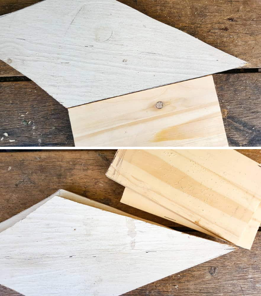 THe wooden pieces needed for the body of the birdhouse #rusticbirdhouse #DIYbirdhouse #paintedbirdhouse #acraftymix #birdhouseideas #uniquebirdhouse