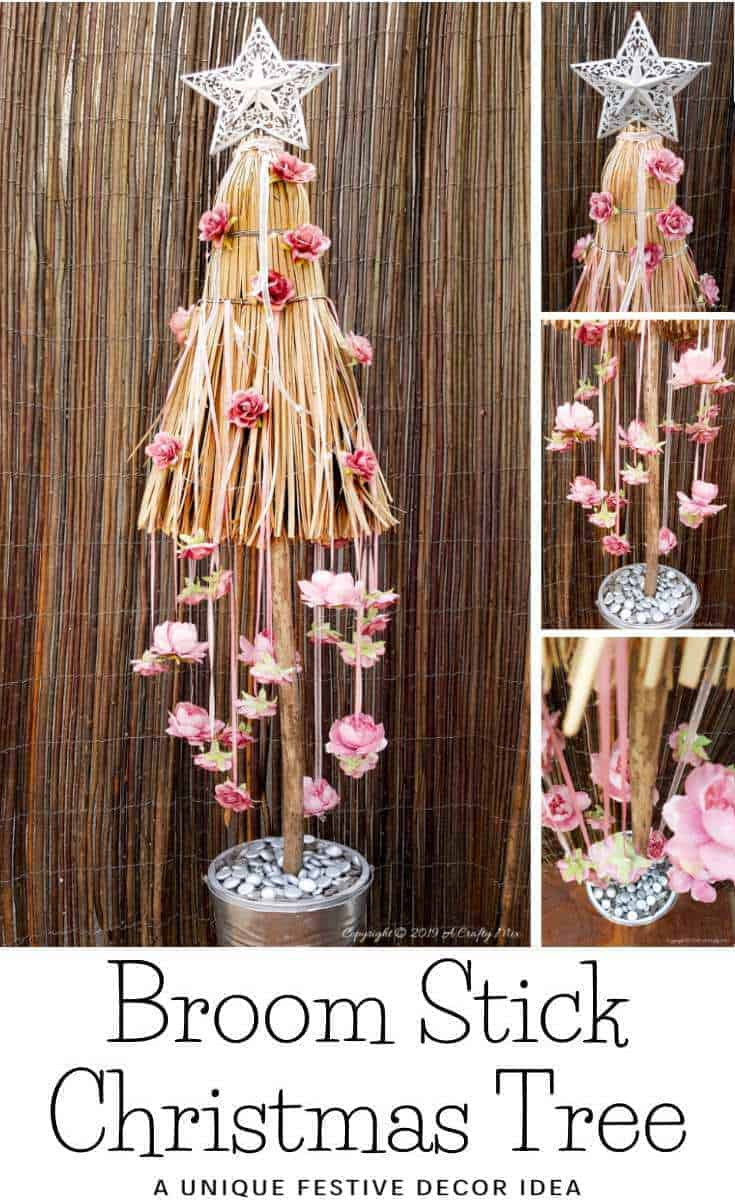How to repurpose a broom into a unique Christmas tree. Fun Festive Decor with a twist #broomrepurpose #broomchristmastree #acraftymix #broomdecor #christmastree #DIYChristmasTree #uniqueChristmastree