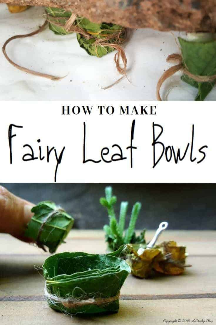 These whimsical fairy leaf bowls are so easy to make. They're perfect for adding a fun décor element to a fairy garden or dolls house. #FairyLeafBowl #FairyBowls #FairyDIYCrafts #ACraftyMix #FairyGardens #FairyCrafts #WhimsicalFairyCrafts #SimpleFairyCrafts
