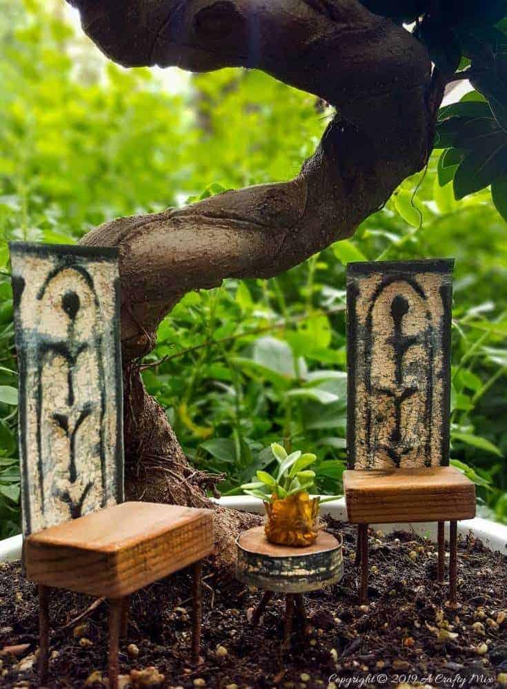 DIY Adorable fairy garden furniture using scraps of old rusty ceiling tiles and nails. #FairygardenDIY #FairyFurniture #RustyNailFurniture #ACraftyMix #FairyGardenTutorials #CeilingTileRepupose #FairyGardenIdeas