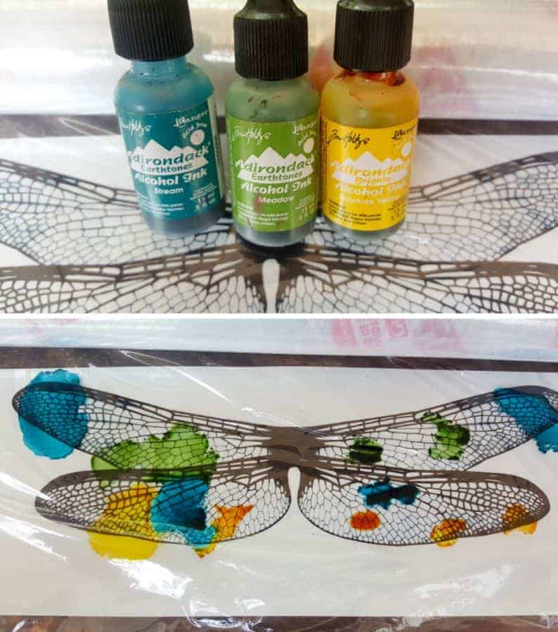 Drop the alcohol ink randomly on the shrink wrap #DragonflyWingsTempalte #DragonflyWingsDIY #ButterflyWings #ACraftyMix #DIYDragonfltWings #AlcoholInkCrafts #AlcoholInk #CraftTutorial