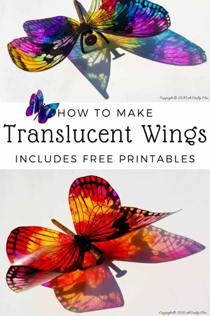 Rusty nails have never looked more beautiful with these translucent butterfly wings. Full tutorial includes 2 free printables to make the butterfly wings and/dragonfly wings. #DragonflyWingsTempalte #DragonflyWingsDIY #ButterflyWings #ACraftyMix #DIYDragonflyWings #AlcoholInkCrafts #AlcoholInk #CraftTutorial