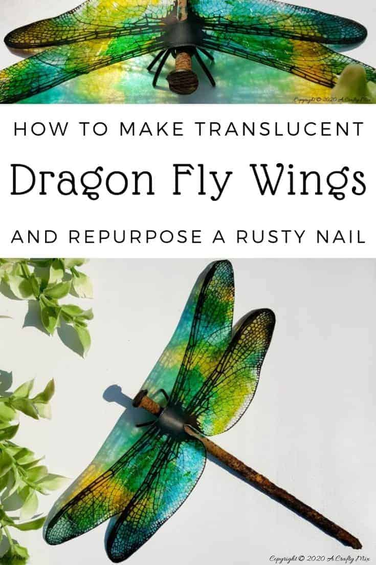 A rusty nail has never looked more gorgeous with these translucent dragonfly wings. Full tutorial includes 2 free printables to make dragonfly and butterfly wings. #DragonflyWingsTemplate #DragonflyWingsDIY #ButterflyWings #ACraftyMix #DIYDragonflyWings #AlcoholInkCrafts #AlcoholInk #CraftTutorial