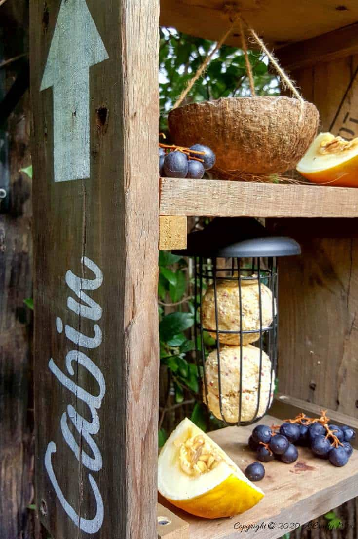 A DIY bird feeder is a great way to make your feathered friends feel at home and look after them when food sources are scarce. This rustic two tier bird feeder is quick to put together and the tiers make it easy to serve them a smorgasbord of treats too. #DIYBirdFeeder #RecycledBirdFeeder #RusticBirdFeeder #aCraftyMix #Woodenbirdfeeder #PalletBirdFeeder #UniqueBirdFeeder