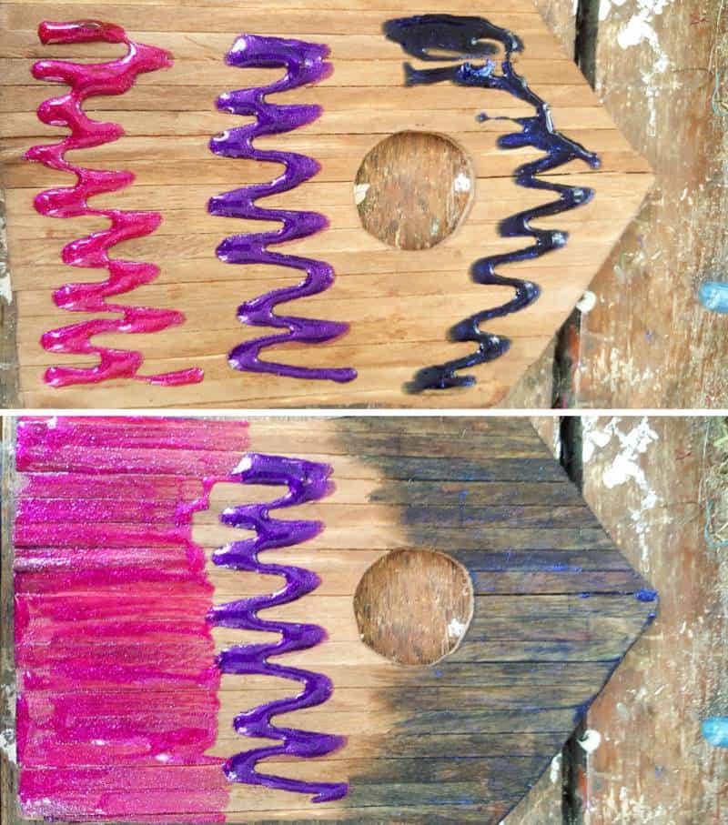 Add the Unicorn SPiT colors and blend #FairydoorDIY #FairyDoorIdeas #ACraftyMix #MakeAFairyDoor #MiniatureStainedGlass #AlcoholInk