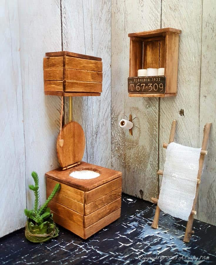 This easy tutorial will show you how to make a Miniature Victorian Toilet for your doll's house or fairy outhouse #dollshouseminiaturetutorial #ACraftyMix #miniaturetutorials #VictorianToilet #DIYMiniatureToilet #DIYMiniToilet