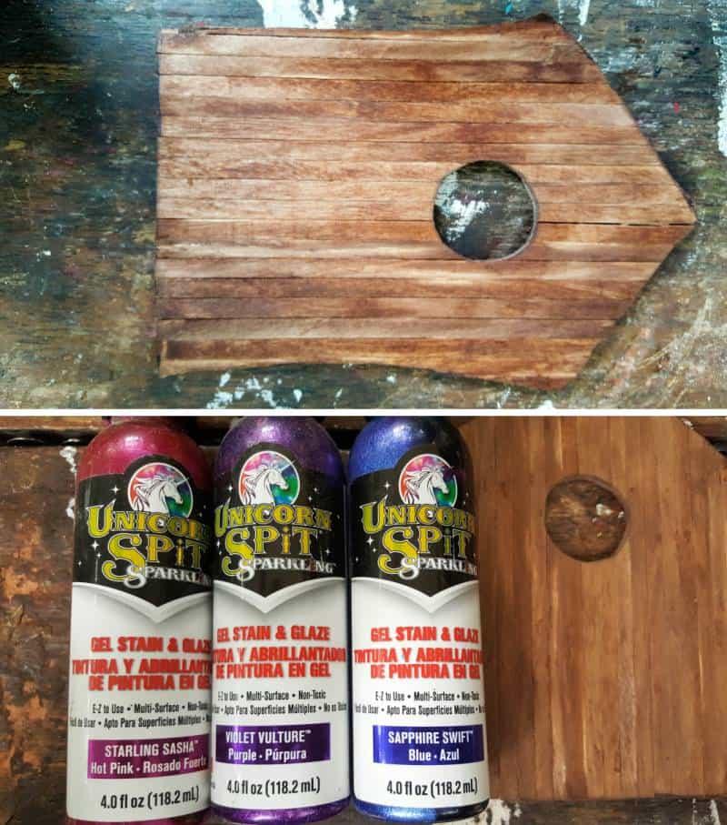 Stain and paint the fairy door in a color of your choice #FairydoorDIY #FairyDoorIdeas #ACraftyMix #MakeAFairyDoor #MiniatureStainedGlass #AlcoholInk