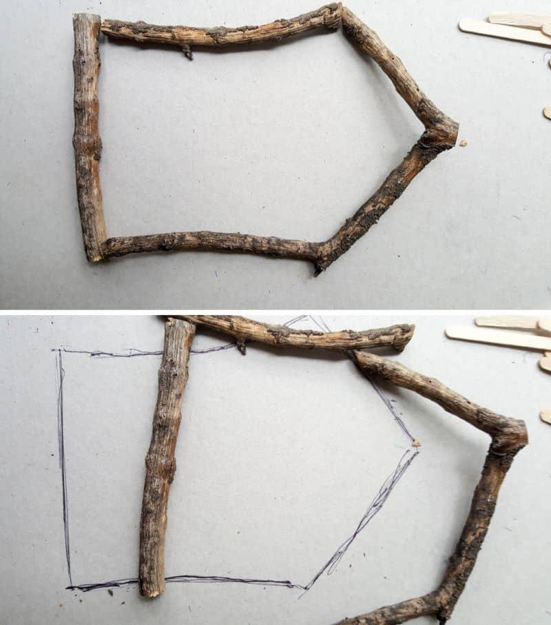 Trace around the branch frame to create a template #FairydoorDIY #FairyDoorIdeas #ACraftyMix #MakeAFairyDoor #MiniatureStainedGlass #AlcoholInk