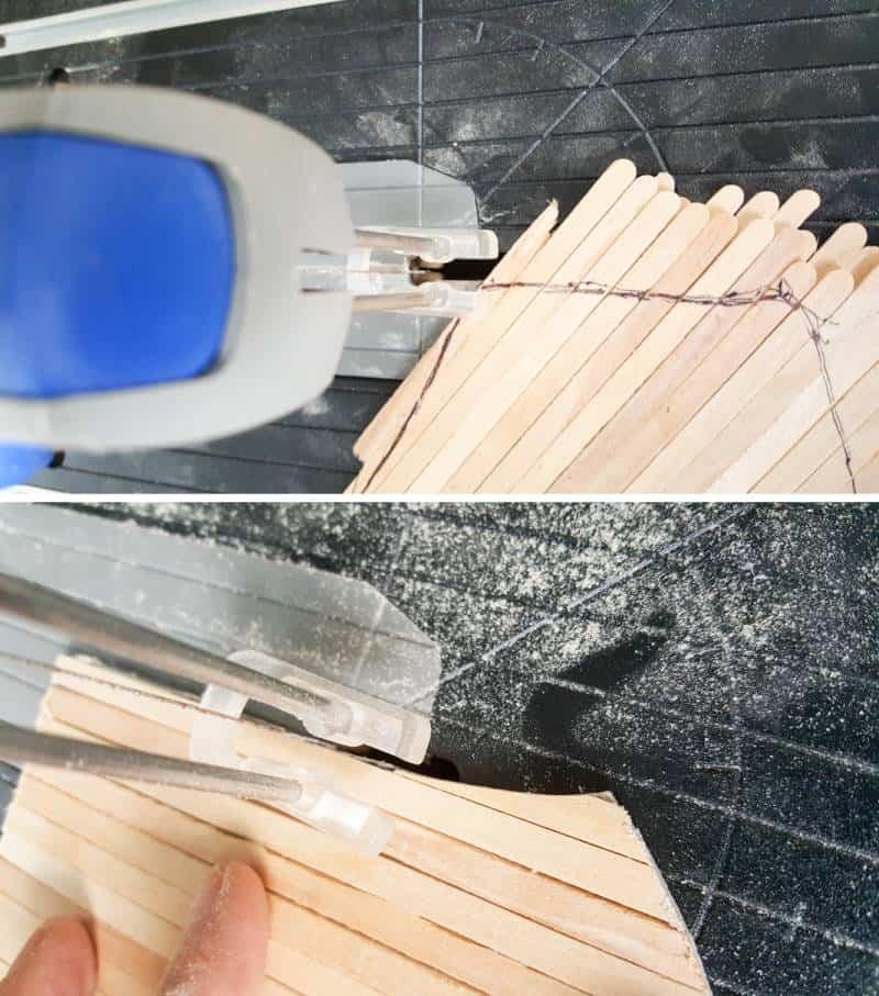 Use a scroll saw to cut the fairy door #FairydoorDIY #FairyDoorIdeas #ACraftyMix #MakeAFairyDoor #MiniatureStainedGlass #AlcoholInk
