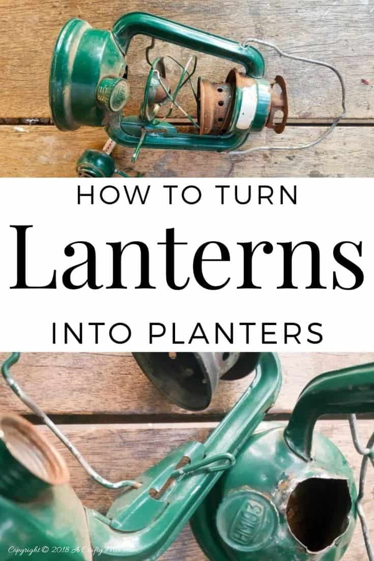 See how easy it is to turn old lanterns in to gorgeous hanging planters. The tutorial includes how to make a pulley from scratch and has tips on prepping and cleaning the lanterns before adding the plants #DIYPlanters #DIYHangingPlanter #UpcycledPlanter #ACraftyMix LanternPlanters