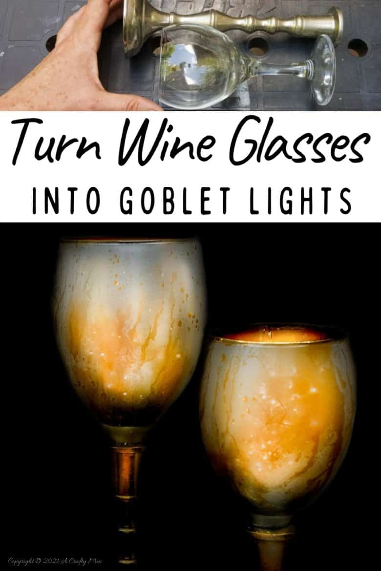 Don't throw those broken wine glasses away you've seen how you can repurpose them to make these gorgeous chalice or goblet lights. The step-by-step tutorial includes a video that will show you how to cut the wine glass and how to get that mercury glass effect in two easy steps. #Wineglassrepurpose #BrokenGlass #ACraftyMix #DIYGoblet #Chalice #MercuryGlass