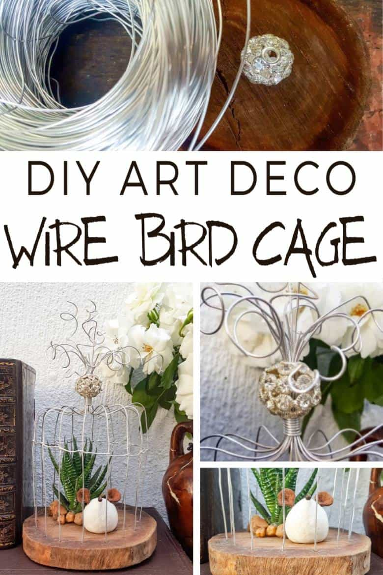 A beautiful crystal bead sits on top of the birdcage. This easy to follow tutorial will show you how to make your own art deco wire bird cage. Made in a morning, it's a fun way to add a little handcrafted glamour to your décor. #BirdCage #DIY #ACraftyMix