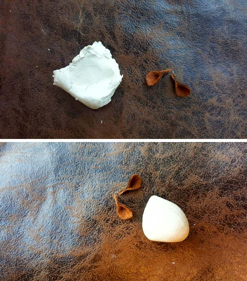 Roll the clay blob into a circle and then form a small peak at one end for the nose