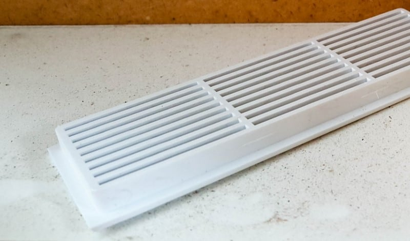 Plastic air vents that will be used for the faux distressed metal makeover