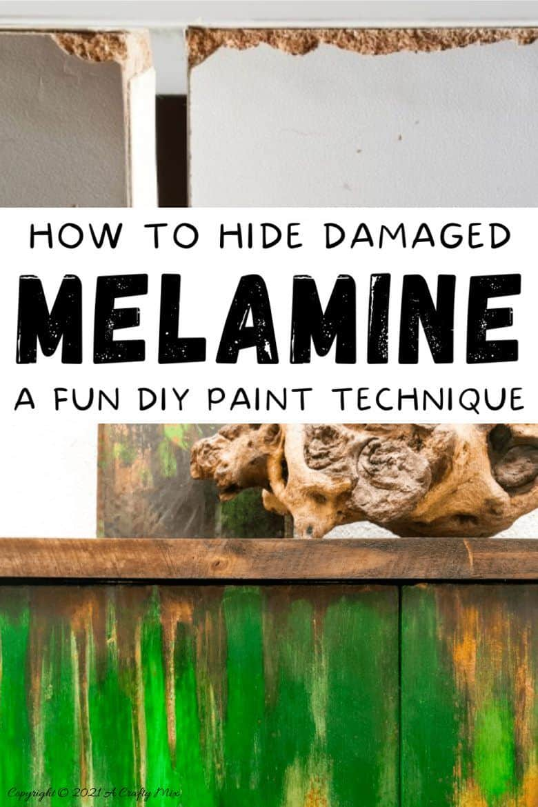 """Ever found a cheap melamine cupboard at the thrift store that was just to """"bleh"""" to fit into your décor style? This tutorial will show you how to give it an easy faux distressed metal makeover that won't break the bank. #melaminmakeover #paintingmelamine #acraftymix #fauxmetal #UnicornSpit"""