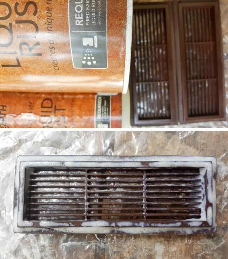 Apply the rust paint to the plastic vents