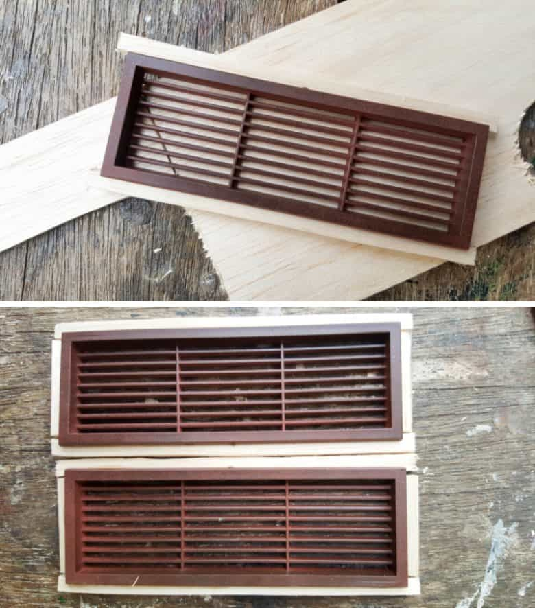Use balsa wood scraps to create a frame for the plastic air vents