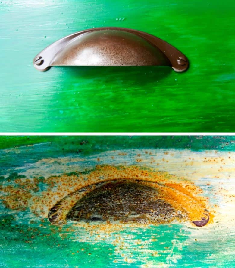 The door handles before and after applying the rust effect