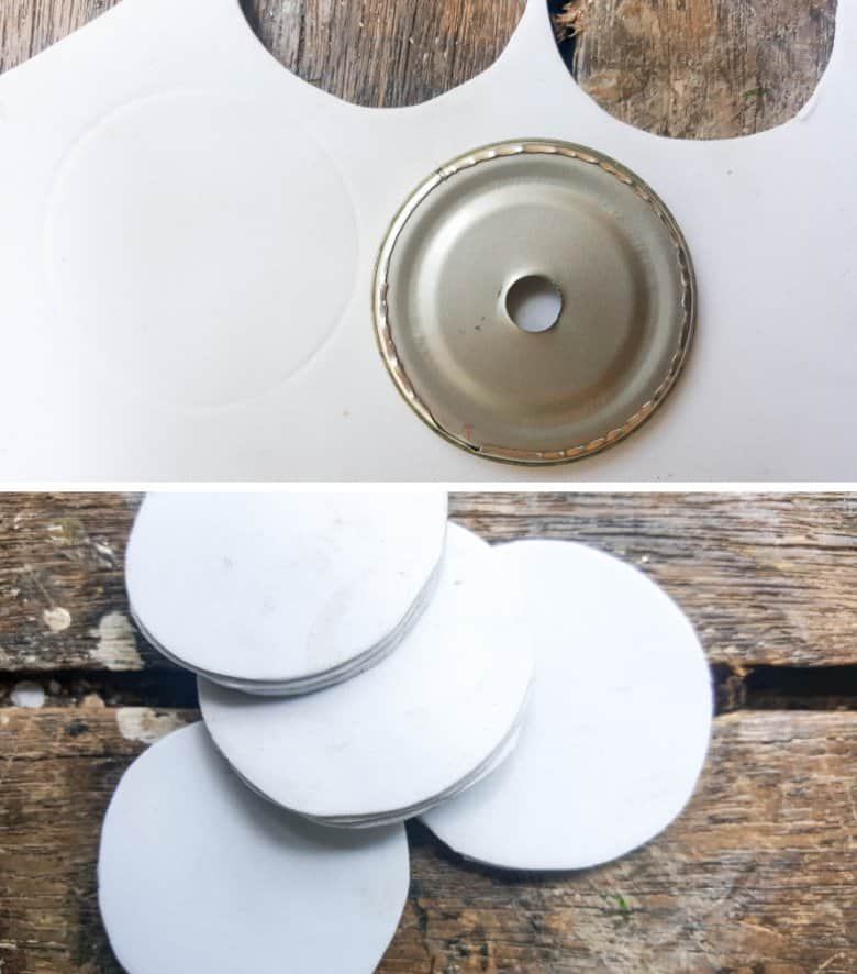 Trace around the tin can lids and cut out