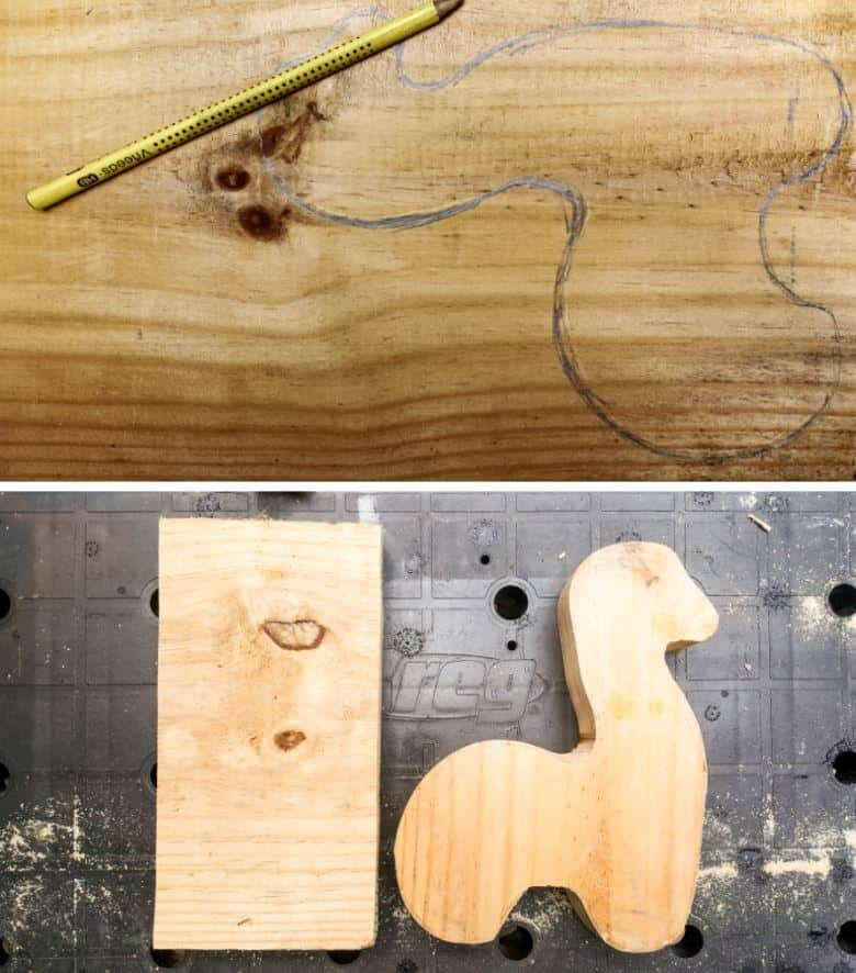 Trace the llama pattern onto a piece of scrap wood and cut out with a jigsaw
