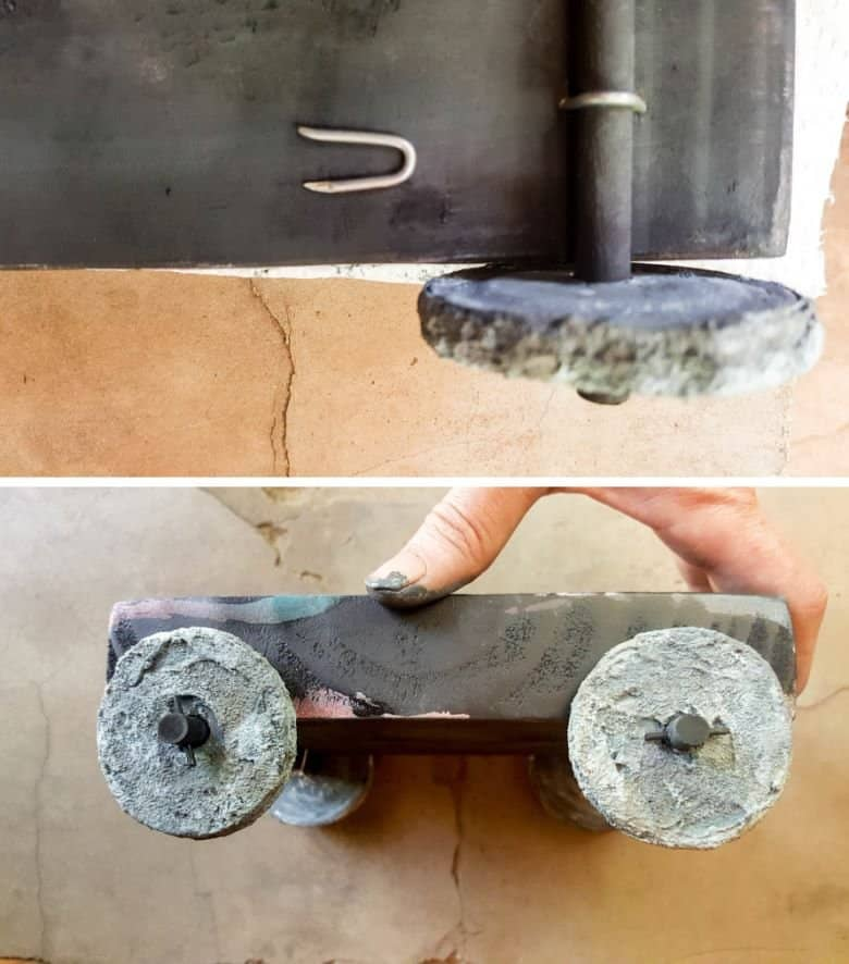 Use fence post nails to attach the axle to the bottom of the platform