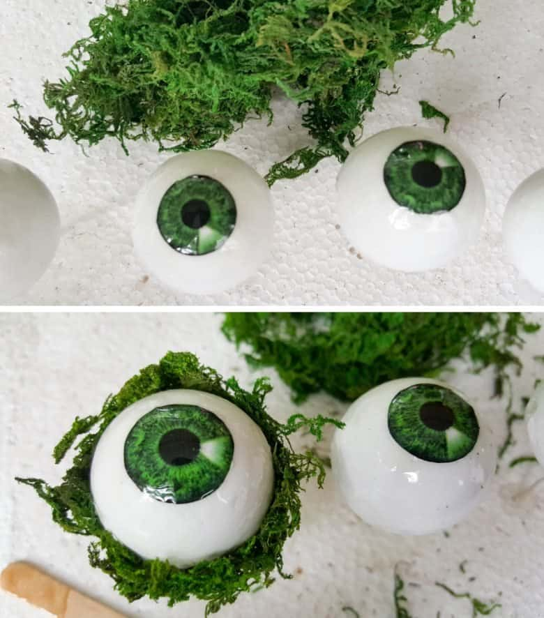 Cover the polystyrene eyes with a glossy mod podge or varnish and add moss