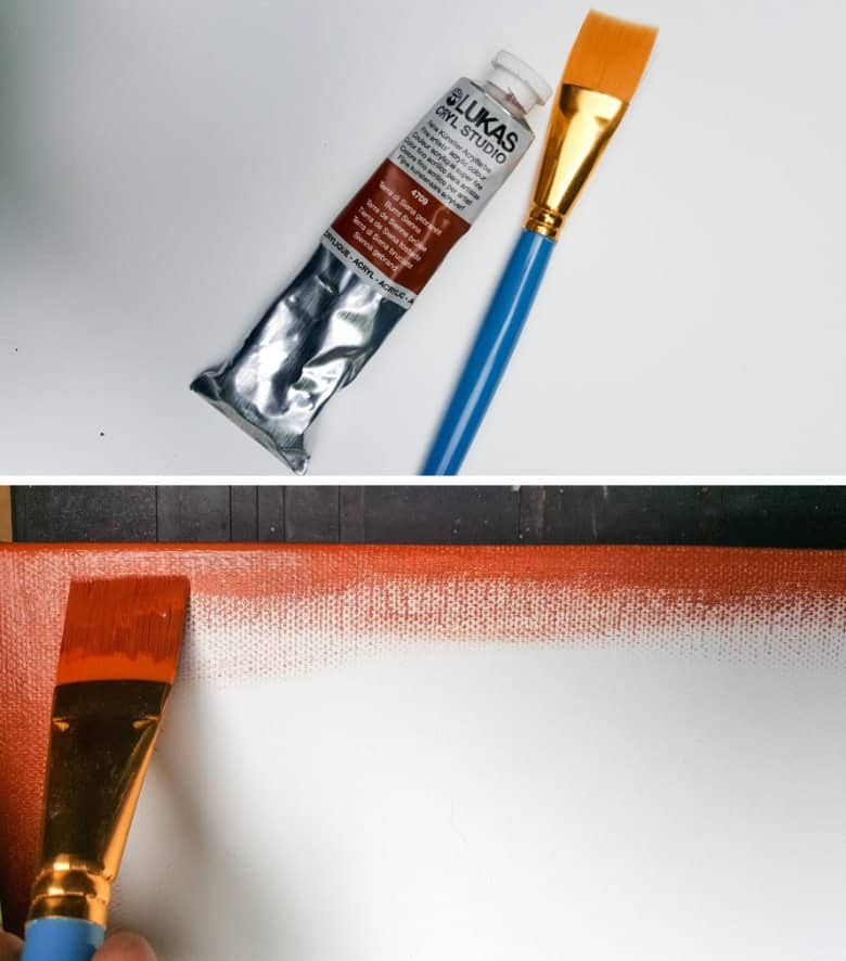 Paint the outside edges of the canvas