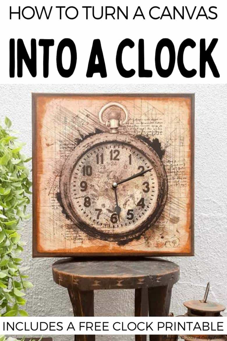 Make a unique statement with this DIY Da Vinci canvas clock. It's quick and easy to make and the tutorial includes step-by-step instructions along with a free printable. #DIYClock #ACraftyMix #HomeDecor