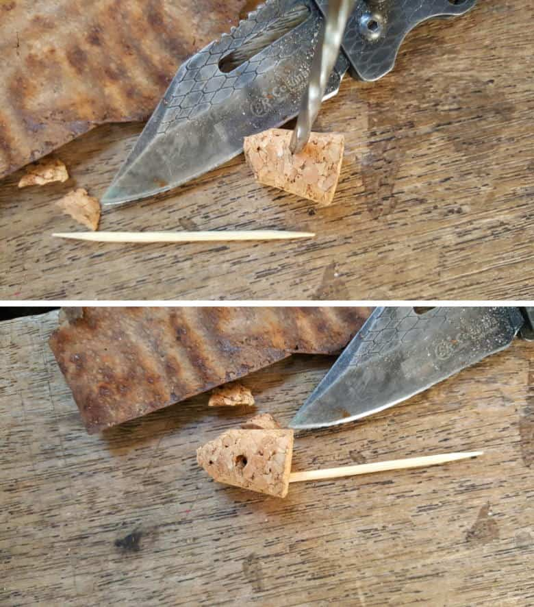 Use a metal skewer or knife to make a small hole in the cork