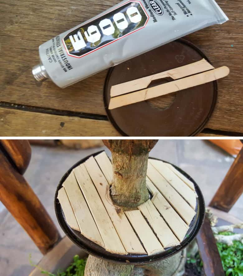 Use E6000 or any other waterproof glue to add popsicle sticks to the plastic lid