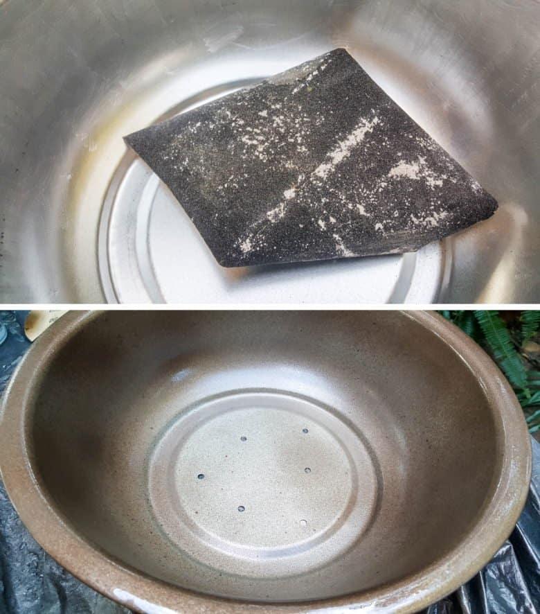 Sand the aluminium bowl before painting to ensure proper adhesion