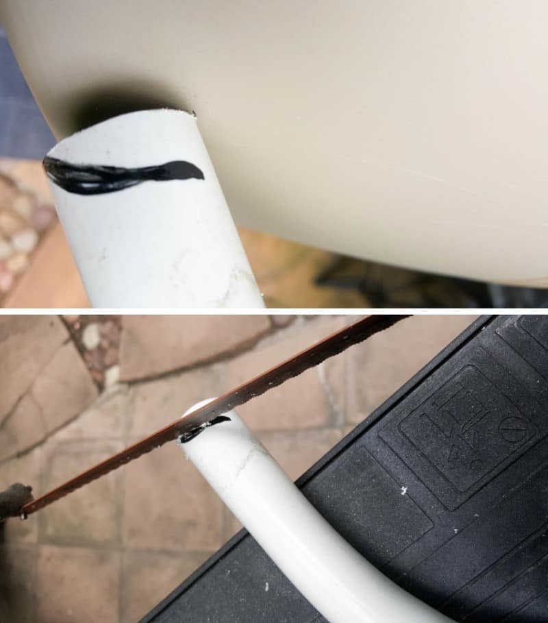Mark where to cut the PVC pipe so it's flush against the teacup