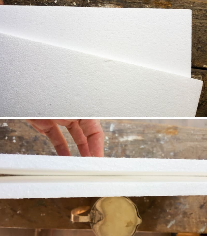 Use two pieces of styrofoam or polystyrene to create a backing for the jug or pitcher