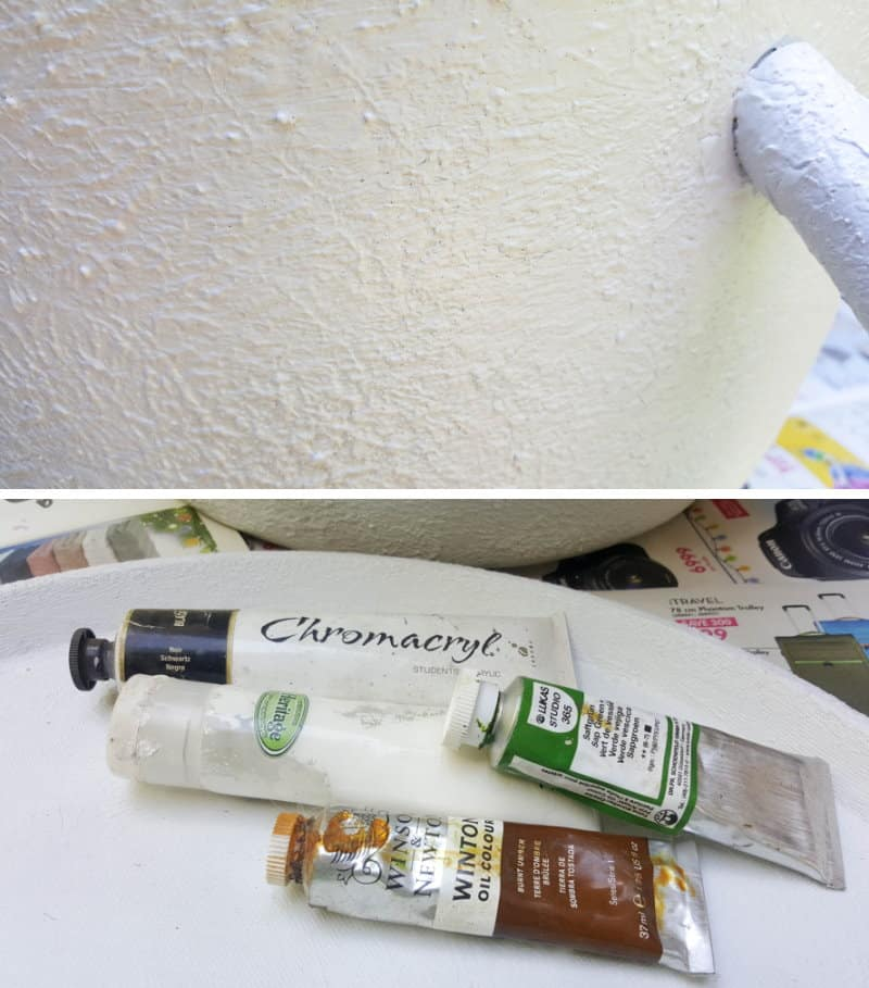 Apply the aged paint effect once the texture paste dries