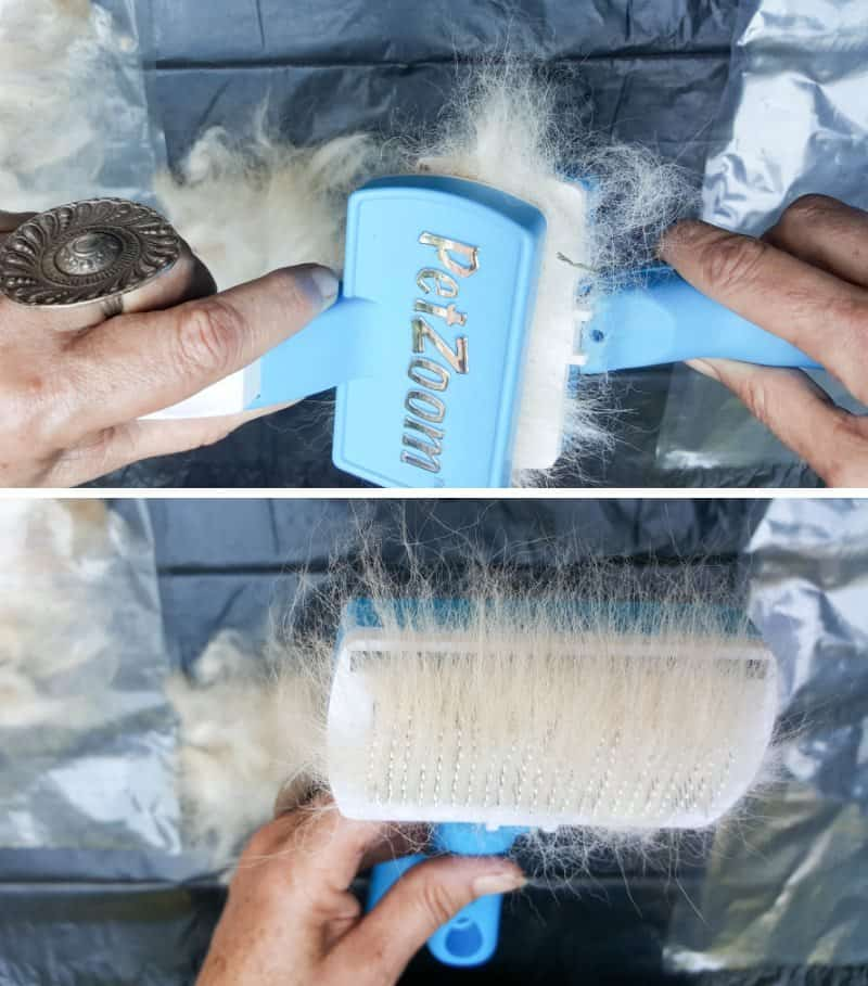 Place a clump of hair or fur on one brash and use the other brush to comb it. To comb, pull the brushes in opposite directions