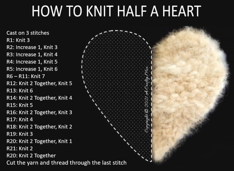 How to knit 1/2 heart - easy pattern