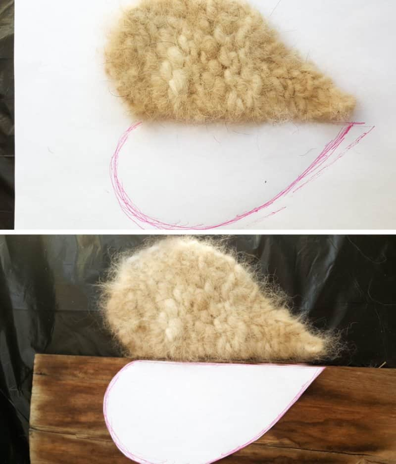 Trace around the heart and use as a guide to cut the other half
