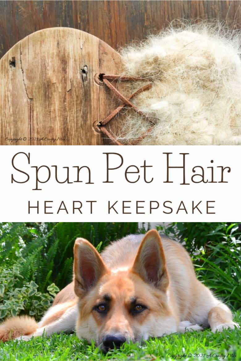 Our dogs shed a lot but instead of cursing them, I decided to make a spun pet hair heart using all the fur that our babies discard so lovingly all over our home. This tutorial will show you how you can turn your fur baby's shed hair into a precious keepsake and includes a video tutorial that will show you how to comb and spin pet hair. #PetCrafts #ACraftyMix #PetKeepsake