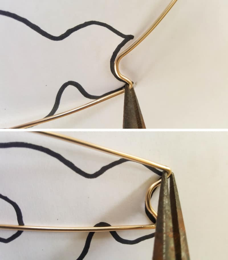 Use needle nose pliers to shape the wire along the template