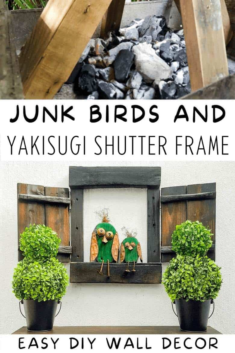 If you love creating custom wall art as much as we do, you're going to enjoy making this easy DIY Yagisuki shutter frame. Use it one it's own to make a statement or add two junk birds to up the ante. The photo-rich tutorial includes instructions to make both the shutter frame and those cute birds. #shousugiban #shutterframe #ACraftyMix #walldecor