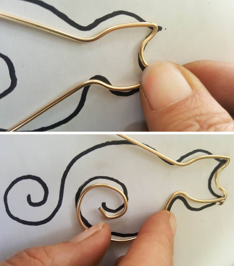 Use the template as a guide to bend and form the wire