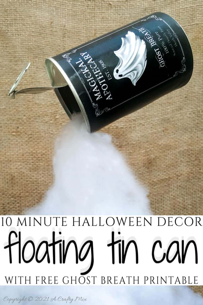 Add a little fun and mystery to your Halloween decor with this easy-to-make magical floating tin can filled with ghost breath. You don't need any special tools and it takes less than an hour to make too. #HalloweenDecor #HalloweenCrafts #ACraftyMix #FloatingTinCan