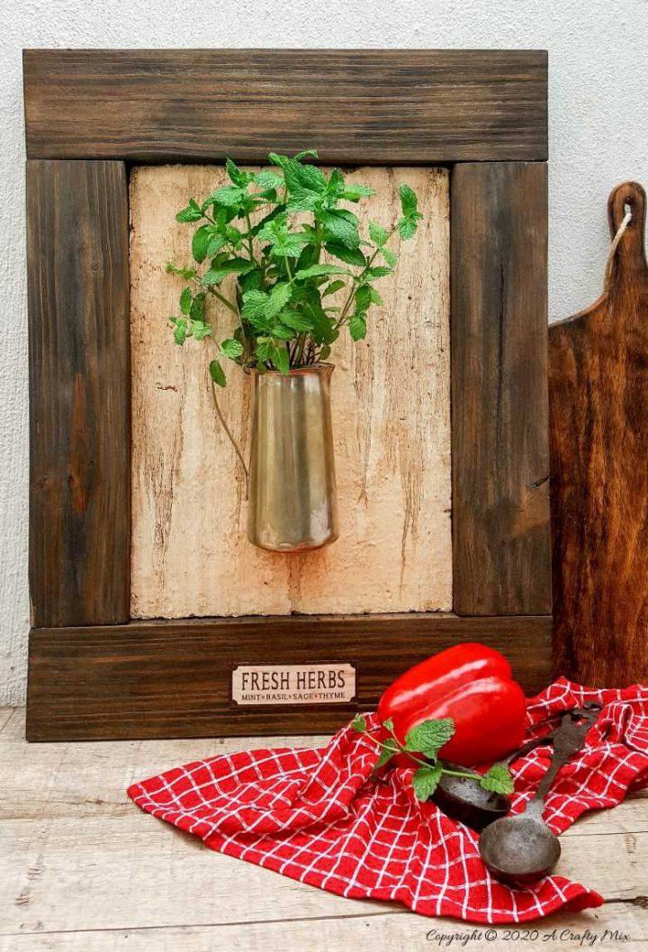 Framed Bouquet of Fresh Herbs – DIY Kitchen Décor
